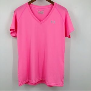 Under Armour Athletic Shirt Heat Gear V Neck Pink